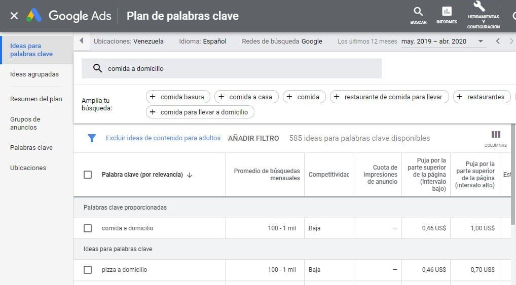 Herramienta seo gratis keyword planner